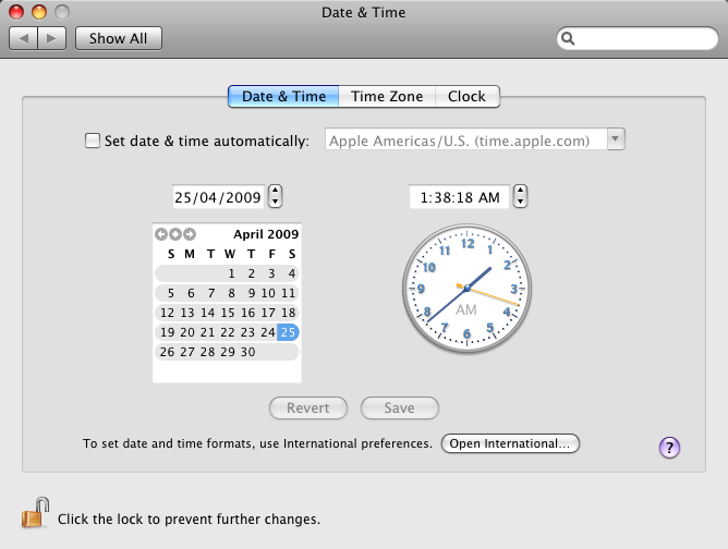 mac os x leopard date & time
