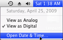 time in mac os x leopard